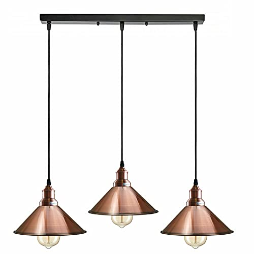 3 Head Modern Vintage Industrial Hanging Light Loft Style Metal Copper Ceiling Pendant Lampshade Fixture Home E27 Lighting Kit for Kitchen Island Living Room Dining Room