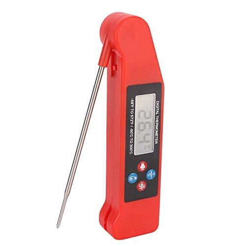 Surebuy Termómetro de Carne para Parrilla de Voz, termómetro de Barbacoa Sonda de Temperatura Plegable Alta precisión Función de transmisión de Voz en inglés para Barbacoa para cocinar para la
