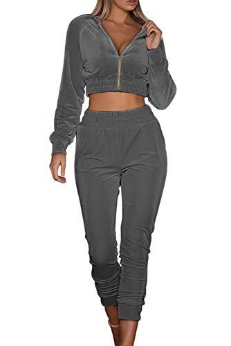 MAGIMODAC Damen Freizeitanzug Sportanzug Jogginganzug Sportjacke Jacke mit Reißverschluss Sporthose Hose mit Tunnelzug (Etikett M/EU 36-38, Grau)