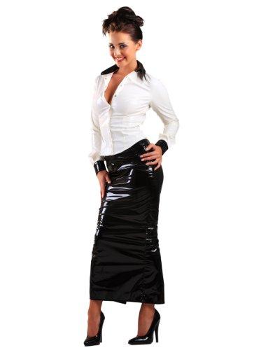 Eer Dames Rok in PVC Zwart Maat UK 18 (2XL), PVC Kleding, Vinyl Kleding, Glanzende Kleding