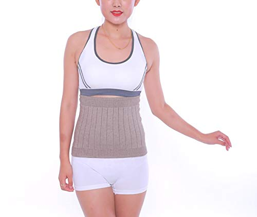AGIA TEX elastischer Nierenwärmer Rückenwärmer atmungsaktiv aus Kaschmir-Wolle Leibwärmer für Damen Herren Kinder Größe M und Farbe Beige