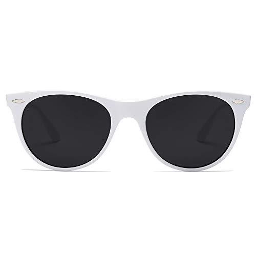 SOJOS Damen Sonnenbrille Klassisch Retro Polarisierte Sonnenbrille Vintage UV400 Brille CELEB SJ2076 mit Weißer Rahmen/Graue Linse