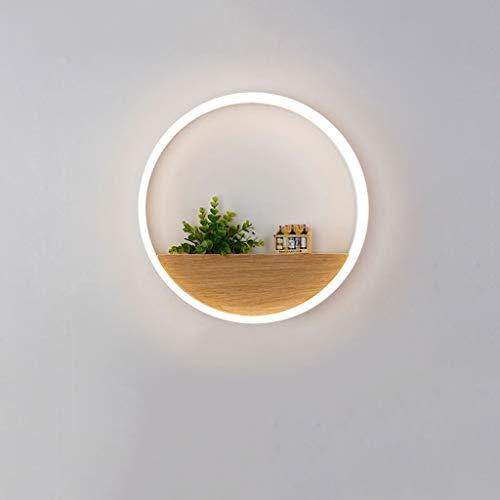 Lámpara de Pared LED nórdica Moderna Lámpara de cabecera de Dormitorio LED Redonda Europea Estantes de Madera Maciza de acrílico Simple Sala de Estar Pasillo Pasillo Decoración Estante Lámpa