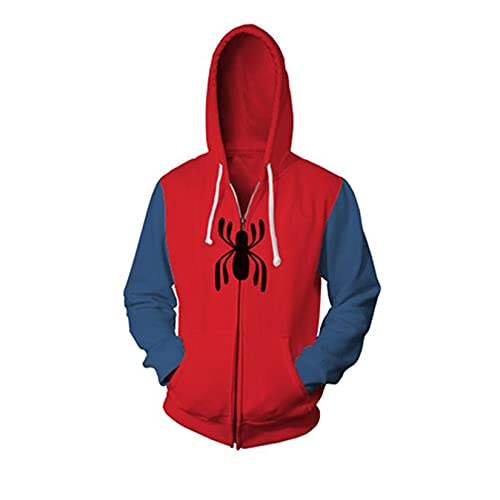 Spiderman 3D Imprimir Hoodie Kids Adult Anime Suéter Carnaval Cosplay Moda Sudadera Superhéroe Casual Zip Up Pullover,Red-Adult/2XL