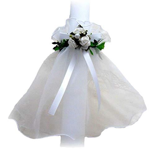 Kerzenkleid weiß 3 Rosen Tropfschutz Kerzentuch Kerzenrock Kommunion Taufe