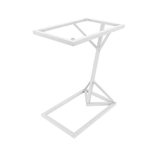 Escritorio De Portátil, Marco De Metal Tabletop Sofá Mesa De Estudio Dormitorio Balcón Snack Mesa Pequeña Espacio Fácil De Mover La Mesa Lateral En Forma De C, 45 * 30 * (Size:45*30*58CM,Color:blanco)