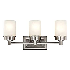 MOTINI 3-Light Bathroom Vanity Light Fixture Wall Sconce Lighting Brushed Nickel Finish with Tube Frosted Glass