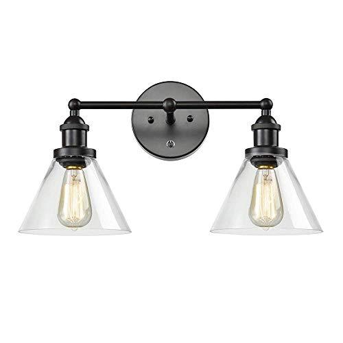 LJYY Aplique de Pared para Dormitorio Industrial Vintage, lámpara de Pared Retro con 2 Pantallas de Vidrio, lámpara de Lectura con Interruptor y Tiradores, decoración de Pared para Sala de Estar