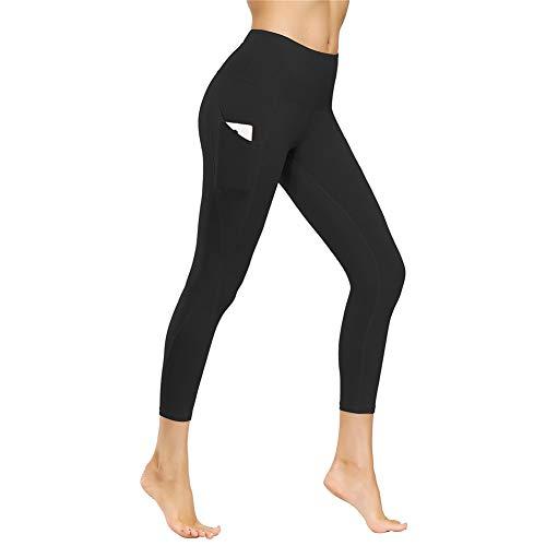 IceUnicorn Damen Leggings Lange Yogahose Sporthose Fitnesshose Laufhose 3/4 Training Tights mit Handytasche(JF.Schwarz, M)