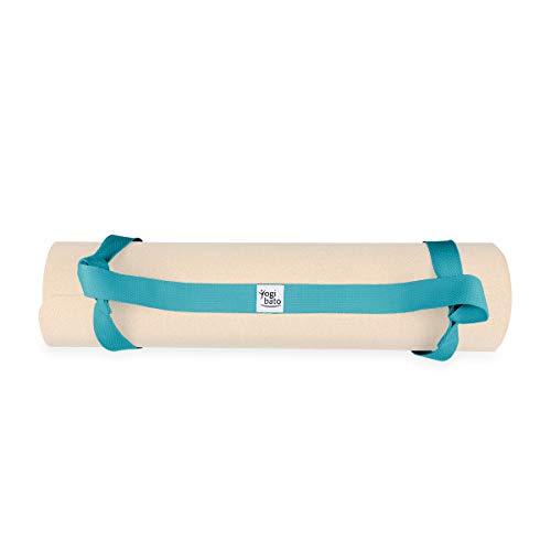 Yogibato Correa de Transporte para Esterillas de Yoga – Agarres Ajustables para Todos los tamaños – 100% Algodón – Correa para Esterillas Fitness y de Gimnasio (Esterilla no incluida) - Turquesa