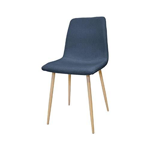 Zons 4 stuks Zak stoel van stof, blauw PETROLE op 4 voeten van metaal in houtlook