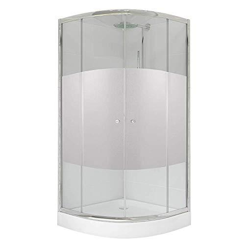 Duschkabine Schiebetür Viertelkreis 90x90x184cm R55 mit Rahmen ESG Sicherheitsglas Klarglas mit Blickschutz Duschabtrennung