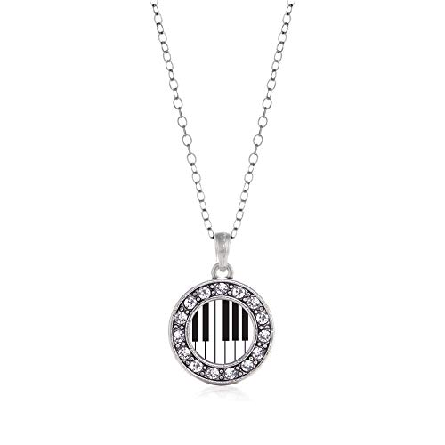 Inspired Silver - Piano Keys Charm Necklace for Women - Silver Circle Charm 18 Inch Necklace with Cubic Zirconia Jewelry
