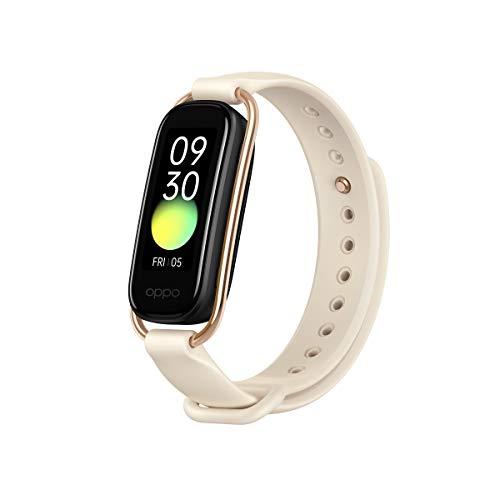 OPPO Band Style Tracker Smartwatch con Schermo AMOLED a Colori 1.1'' 5ATM Carica Magnetica, Impermeabile 50m, Pedometro Fitness 2 Cinturini Cardiofrequenzimetro [Versione Italiana], Colore Vanilla