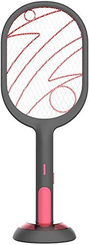 Buyter Famiglia 2 in 1 Insetto Elettrico Trap Racket USB LED Light Tennis Zapper Bug Racchetta Ricaricabile Mosquito Killer Swatter (Nero)