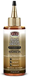 African Pride Black Castor Miracle Hair & Scalp Sealing Oil - Locks in Moisture & Soothes, Contains Black Castor Oil, Tea Tree Oil, Soybean Oil, 6 oz