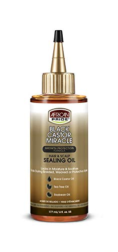 African Pride Black Castor Miracle Hair & Scalp Sealing Oil - Locks in Moisture & Soothes,...