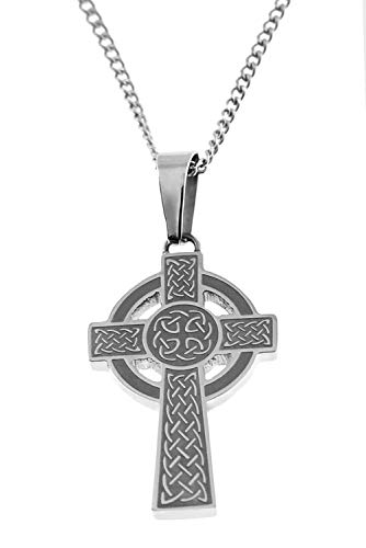 Joyful Sentiments Celtic Jewelry Stainless Steel Celtic Cross with Nimbus Pendant Measures 1 Inch Long by 3/4 Inch Wide 18' Necklace with a 3' Extender