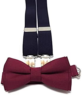 36f0675be27c NAVY BLUE suspenders and BURGUNDY WINE plain cotton bow tie for groomsmen  for groom outfit for