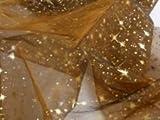 Organza Stoff braun Meterware Sternenhimmel bedruckt Sterne