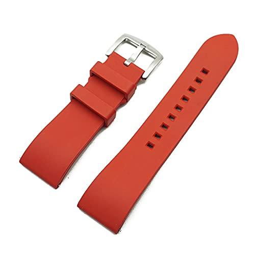 Correa Reloj Correa de Reloj de Goma 20mm 22mm 24mm Pulsera Barra de liberación rápida Barra de Reloj Correas para Relojes (Band Color : Red Silver)