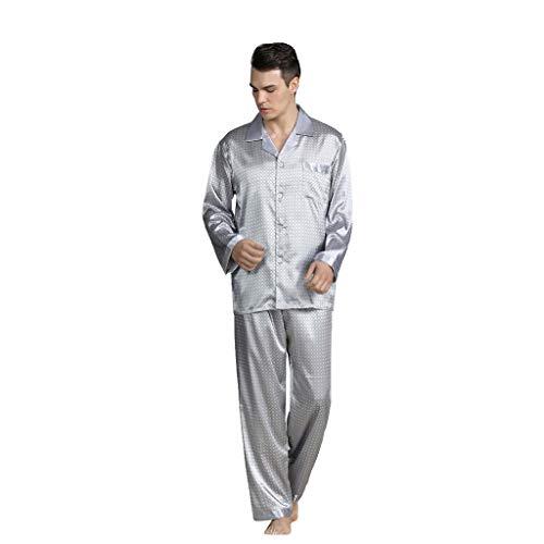 Pijama Hombre Saten 2 Piezas Conjunto Tops y Pantalones Ropa de Casa Seda Ropa de Dormir Cuadros Suave Sueltas Cómodo Agradable Pijamas de Manga Larga Yvelands(Gris,XL)