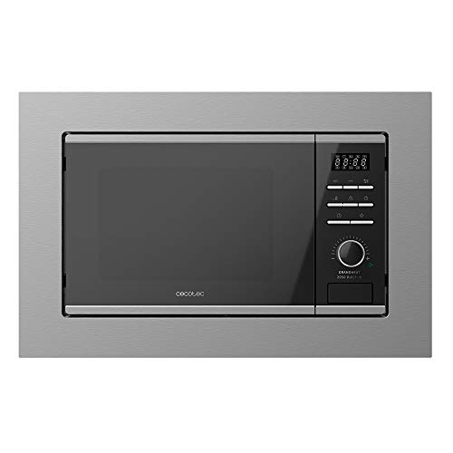 Cecotec Microondas encastrable Digital GrandHeat 2050 Built-In Steel Black. 800 W, Integrable, 20 Litros, Grill, 7 Funciones, Revestimiento interior cerámico