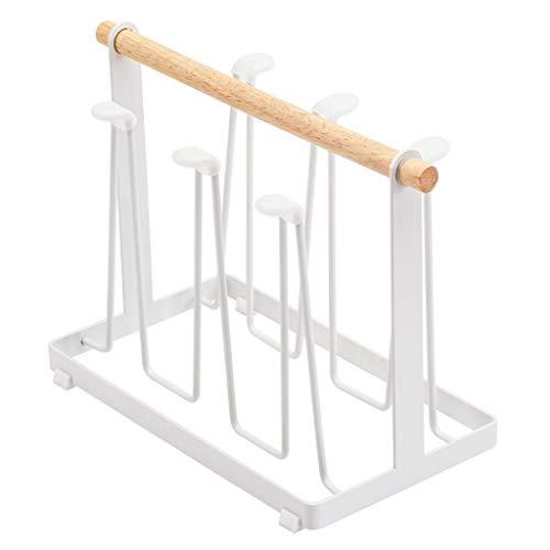 Support de Cuisine en métal pour Le comptoir d'armoires, Le Support de séchage Drinkware avec 6 Crochets en Fer pour Tasse et Support de Tasse , Blanc
