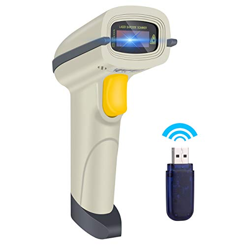 Aizerilon Barcode Scanner Wireless 1D | Portable Scan Gun with USB Charging Cable| Handheld Laser Inventory Scanner for POS/PC/Laptops/Computer/Library barcode handheld scanner