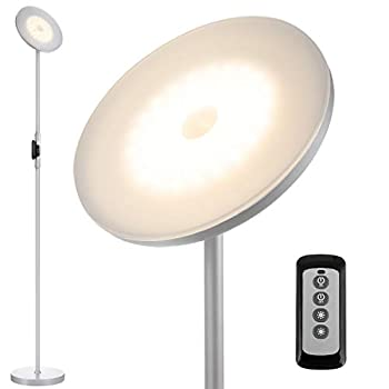 Joofo Floor Lamp,30W/2400Lume Sky LED Modern Torchiere 3 Color Temperatures Super Bright Floor Lamps-Tall Standing Pole Light with Remote Control and Touch Control for Living Room,Bed ,Platinum Silver