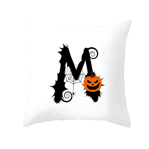 Xmiral Kissenhüllen Pillowcase Kürbis Buchstabe Drucken Zierkissenbezüge Polyester Dekokissenbezug 45cm x 45cm(M)