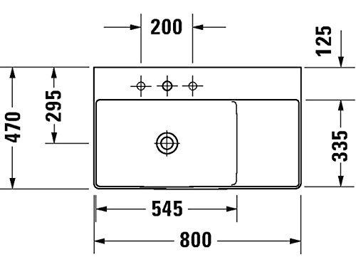 Duravit Waschtisch DuraSquare 800m Weiß, Becken Links, 2348800070