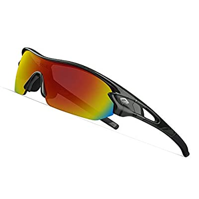 TOREGE Polarized Sports Sunglasses with 3 Interchangeable Lenes for Men Women Cycling Running Driving Fishing Golf Baseball Glasses TR02 (Transparent Grey&Black&Orange Lens)
