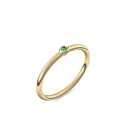 Goldring Smaragd 585 + inkl. Luxusetui + Smaragd Ring Gold Smaragdring Gold (Gelbgold 585) - Slick one Amoonic Schmuck Größe 56 (17.8) KA11 GG585SMFA56