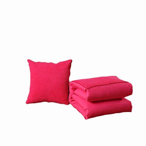 ZWL Coussin d'oreillers en couleur pleine Double utilisation Coussin de plafond pour voiture en plein air portable Coussin de canapé Bureau à domicile Protégez la taille des fournitures de lit lombaires Dossier mode z ( Couleur : Rose , taille : 150*195CM )
