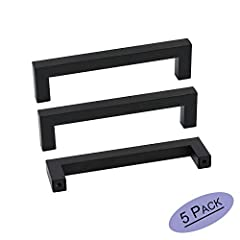 MATERIAL:Black cabinet handles made of high quality Stainless Steel,they are hollow construction,lightweight but durable and anti-corrosive,can be used for many years. MEASUREMENT:Hole centers:128mm(5inch),Overall length:140mm(5-1/2inch),Width:12mm(1...