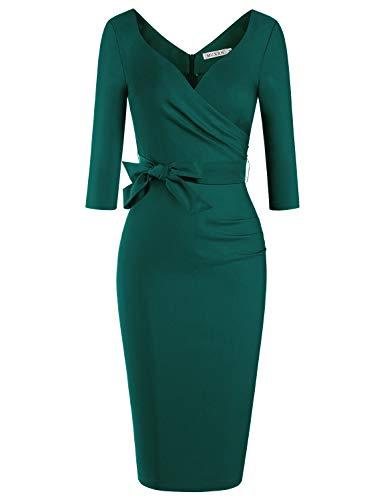 MUXXN Women's Classic 3/4 Sleeves Bowknot Waist Formal Office Working Pencil Dress (Dark Green M)