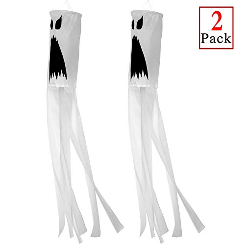 PINCHUANG 2 Pack 40 Inch Halloween Pumpkin Ghost Windsock Flag, Halloween Windsock Outdoor Hanging Decoration for Front Yard Patio Lawn Garden Party Decor (Ghost Windsock)