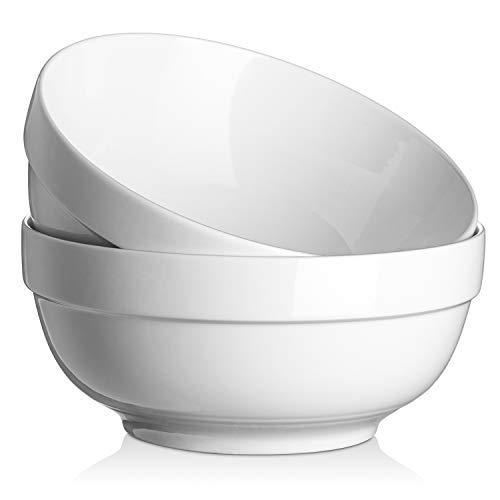 DOWAN Ciotole da portata grandi da 22,9 cm 2,42 litri, ciotole in porcellana, per zuppa, insalata, pasta, ciotole per miscelazione, forno a microonde e lavastoviglie, set di 2, Bianco