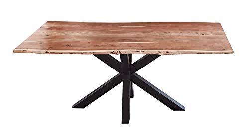 SAM Esszimmertisch 180x90cm Quincy, echte Baumkante, Akazienholz naturfarben, massiver Baumkantentisch mit Spider-Gestell Mattschwarz