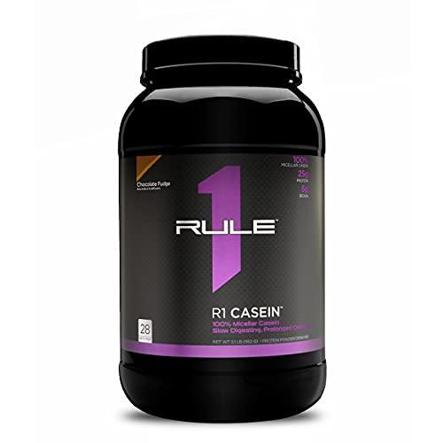 Rule One Proteins, R1 Casein - Chocolate Fudge, 25g Slow-Release Premium Micellar Casein to Keep Muscles Fed Overnight or Between Meals, Long Lasting Amino Acid Delivery, 2 Pounds, 28 Servings