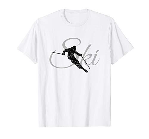 Ski Skier (Schwarz/Grau) Wintersport Skifahrer T-Shirt