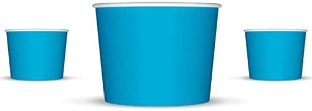 8 oz Paper Hot/Cold Ice Cream Cups - 100ct (Blue)