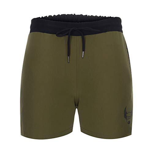 Gahrchian Men's Lightweight Gym Yoga Training Shorts Home Fitness Shorts Comfortable Sport Solid Color Pant(Green,1X)