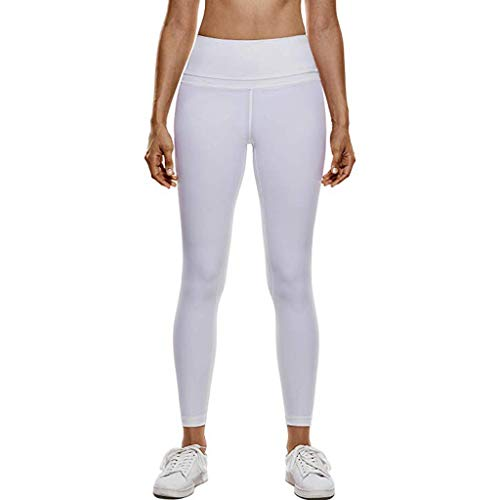 WOZOW Damen Leggings Gamaschen Solid Basic Dünn Skinny Stretch Bequem Joggers High Waist Lang Long Ankle Workout Jogginghose Sport Hose Yoga Stoffhose (S,Sahne)