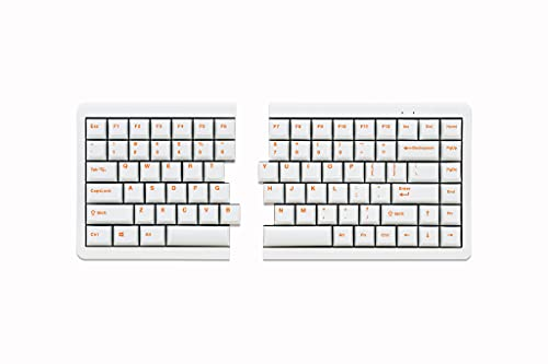 Mistel MD770 RGB LED Backlit TKL Split Mechanical Keyboard with Cherry MX Blue Switch, Ergonomic Keyboard with Orange Letter PBT Double Shot Keycaps for Windows and Mac, White Color, Macro Support