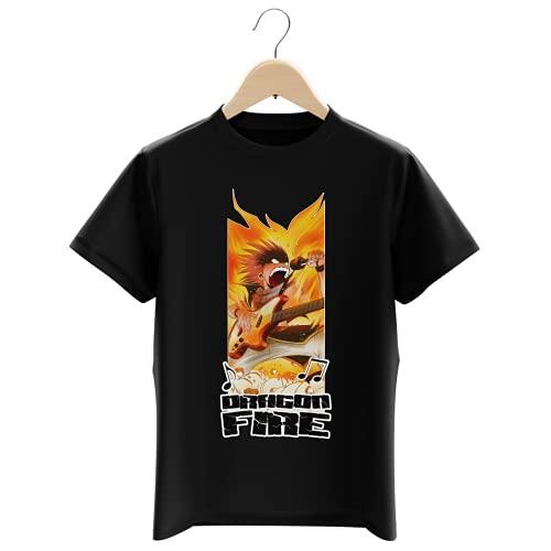 Okiwoki T-Shirt Enfant Garçon Noir Parodie Fairy Tail - Natsu - Dragon Fire !!! (T-Shirt Enfant de qualité Premium de Taille 13-14 Ans - imprimé en France)