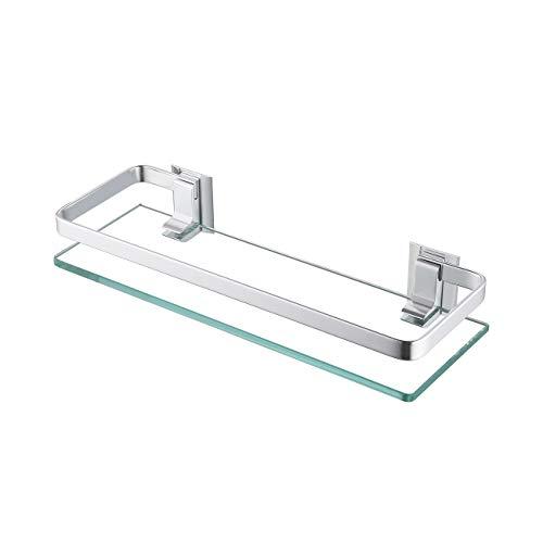 KES Glasregal Duschablage Duschregal Glas 8mm Ablage Dusche Glasablage für Badezimmer Wandregal Badregal Wandmontage Aluminium Silber, A4126A