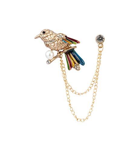 ridderschap mannen kristal parel papegaai vogel reversspeld pak kraag broche