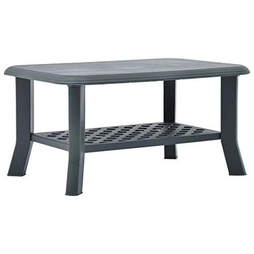 vidaXL Mesa de café resistente a la intemperie, mesa auxiliar, mesa de té, mesa de jardín, mesa de café, exterior verde, 90 x 60 x 46 cm, plástico